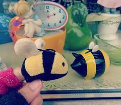 Une rencontre amusante <> A funny encounter!! (France-) Tags: two jaune twin bee deux 100 piggybank abeille vitrine banque petiteabeille