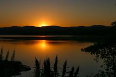 Summer Silhouette (SueZinVT) Tags: lakebomoseen silhouete suezamecnik sunrise orangesky sky water morning vermont