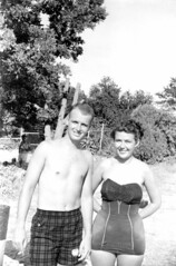 Swimsuits by the shore (jericl cat) Tags: gay shirtless man male history beach vintage fur photo clothing chest clothes blond photograph blonde bathing swimsuit interest wore attire
