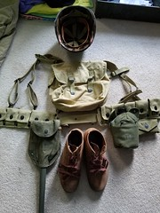 My field gear (Huntmster) Tags: field america vintage soldier army boots wwii tan khaki olive gear