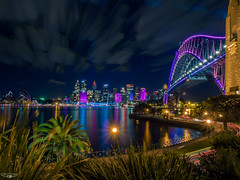COLOUR EXPLOSION (Laith Stevens Photography) Tags: ocean city bridge color colour skyline reflections wonderful lights long exposure harbour smooth sydney vivid olympus pro f28 omd em1 1240mm