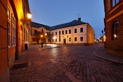 Street of the old town (safris76) Tags: street old city longexposure travel blue light chimney public lamp architecture night square lowlight europe darkness czech pavement sidewalk walkway bluehour oldtown historicalbuilding hradeckralove