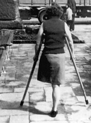 bw_43 (jackcast2015) Tags: handicapped disabled disabledwoman cripledwoman onelegwoman oneleggedwoman monopede amputee legamputee crutches