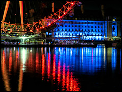 Red, White, and Blue Reflections (Darren Wilkin) Tags: blue red white london thames reflections river colours londoneye countyhall