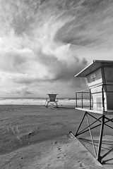 Tower 14 III (autobahn66.com) Tags: blackandwhite storm water monochrome rain surf waves sandiego surreal oceanside strom lifeguardtower californa vbeach monocchromia