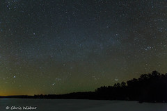 Lake of Two Rivers at Night (awaketoadream) Tags: park winter 2 two sky lake snow ontario canada ice night dark way stars evening march frozen central astrophotography rivers algonquin milky provincial