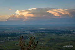 Lucky 1/20 (kevin-palmer) Tags: caspermountain wyoming june summer sunset evening dusk color colorful sky orange clouds distant thunderstorm cumulonimbus anvil lightning bolt strike lucky scenic view vista tamron2470mmf28 nikond750 road storm stormy