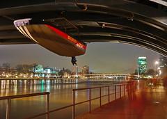 DLRG 2 (stephan.hickisch) Tags: city bridge light people urban tower night river germany evening boat ship hessen frankfurt main dlrg financial metropole luminale