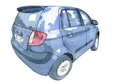 auto, au Potay... (gerard michel) Tags: auto sketch aquarelle watercolour croquis