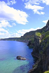 Blues and Greens (Mark RobinsonNI) Tags: uk blue ireland sea sky cliff green water blu land northernireland ulster northcoast