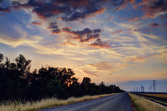 Country Road II (Sam Saechao) Tags: road trees sunset panorama field skyline river countryside panoramic powerline 1855mm countryroad yubacity ricefiled butteslough nikond5100