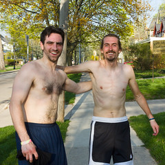 Do you want to take our picture? (bill.d) Tags: man smile person us spring downtown michigan unitedstatesofamerica streetphotography sweaty sidewalk kalamazoo shorts runner stinky eos60d