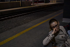 Beyond the yellow line (Leonard M.) Tags: light people bw rome color station contrast train dark blackwhite waiting places stazione tiburtina