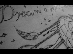 Dream a pretty dream (IDontGiveAF***) Tags: art me illustration work myself mine drawing quote text feathers indie written dreamcatcher
