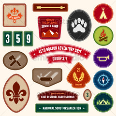 Scouting badges (Ember Studio) Tags: park camping boy camp mountain tree classic nature sign set illustration vintage emblem fire design site woods sticker graphic forrest symbol outdoor label knife scout tent retro stamp campfire ornament badge round axe merit arrow recreation patch insignia rank exploration boyscout arrowhead vector compass campsite troop scouting girlscout meritbadge designelement