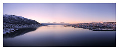 Panoramic Harbour (paulmcdee) Tags: city pink winter light sunset sky snow mountains cold ice water norway canon circle boats harbour dusk north powershot arctic scandinavia northern tromso troms scandanavia s100 5photosaday topqualityimagesonly