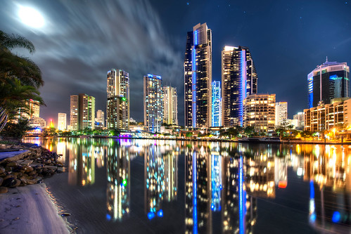 nightphotography reflection photography australian canvas moonlit prints hdr d800 goldcoast limitededitionprints onmetal surfprints lukezeme surferssurfersparadise australianhdr