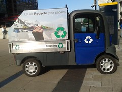 (London Permaculture) Tags: london electric paper newspaper vehicle van recycling canarywharf flickrandroidapp:filter=none