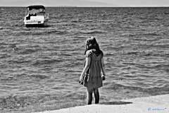 (Love me tender .**..*) Tags: summer blackandwhite girl monochrome kids children boats greek photography back shots august greece goodbye melancholy aigina dimitra sporades 2013 souvala nikond3100 flickrsfinestimages1 kirgiannaki