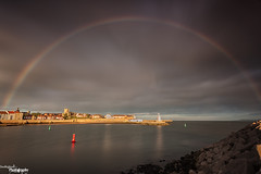 Headland Rainbow (Dave Brightwell) Tags: sunset sunlight canon reflections dark rainbow rocks harbour cleveland hitech redsnapper headland hartlepool bwnd davebrightwell