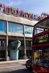 IMO headquarters London (Keith now in Wiltshire) Tags: street uk england sculpture bus london bronze memorial traffic transport headquarters flags unitednations destination shipping 77 lambeth imo londonbus redbus londonstreet albertembankment nationalities route77 internationalmaritimeorganization copyright©keithbowden2013