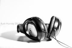 October Photo-A-Day No.22: Headphones (Ruthie H) Tags: blackandwhite music 50mm mono ears stereo headphones highkey hifi hearing strobist pentaxa1250mm