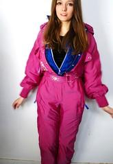 pinkcasta (onesieworld) Tags: pink snow ski sexy girl one shiny suit 80s piece nylon onesie
