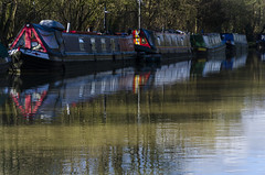 Barge in (David Allen's Photostream) Tags: reflection water boats canal nikon miltonkeynes national barge geographic davidallen
