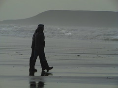Seaside Stroll (fabbird1964) Tags: sea people reflection wales bay gower persons walkers llangennith