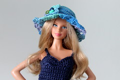 Strong blue (Mae jest pikne) Tags: blue flower hat doll handmade top crochet barbie mini button vision:outdoor=0936