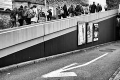 Arrow / Flow (Nekr0n) Tags: street leica city people urban blackandwhite bw monochrome digital flow schweiz switzerland blackwhite leute strasse zurich streetphotography x stadt streetphoto 24 arrow 28 24mm zürich schwarzweiss asph f28 x1 compactcamera xseries elmarit primelens strase leicax1gallery