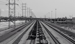 LA (georgemstadler) Tags: street railroad urban blackandwhite bw lines train la losangeles nikon streetphotography trainstation infrastructure downtownla 1855mm dtla railroadtracks d3100 nikond3100