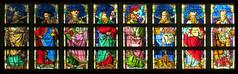 Stained glass window - detail (Frans Schmit) Tags: stainedglass antwerpen glasinlood onzelievevrouwekathedraal fransschmit