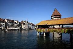 Lucerne   (linolo) Tags: bridge river switzerland europa europe swiss luzern chapel lucerne lucerna  kapellbrcke reuss