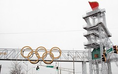 Atlanta Olympics Flame Tower (gravescout) Tags: atlanta georgia geotagged 1996 olympics olympictorch fultoncounty takenfromthecar takenfromcar flametower