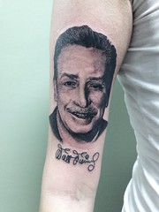 Walt Disney portrait by Wes Fortier - Burning Hearts Tattoo Co. 1430 Meriden Rd.  Waterbury, CT