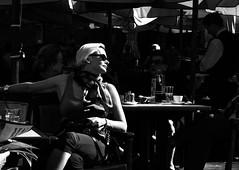 Waiting for Service (red_bandora) Tags: blackandwhite bw sunshine cafe waiting bright highcontrast posing malta blonde sunbathing cordina leicaxvario