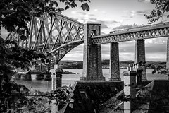 Flying Across the Forth (Tom_Drysdale) Tags: old bridge bw white black train vintage flying spring fuji may steam forth fujifilm scotsman 2016