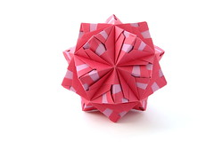 Pterois sonobe (variation) (ronatka) Tags: pink square whitebackground variation modularorigami kusudama sonobe efs18135mmf3556is nataliaromanenko pteroissonobe