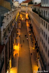 Rua do Carmo street at night, city of Lisbon, Portugal. (Junior Braz Gallery) Tags: from road santa street city summer vacation people urban portugal shop retail shopping high europe do looking lift view top lisbon down panoramic aerial santarm rua elevated pt overview justa abrantes carmo