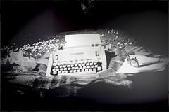 Pinhole poetry (kaffealskare) Tags: blackandwhite monochrome typewriter pinhole cameraobscura monokrom skrivmaskin themephotography hlkamera temafotografering fotosondag fotosndag fs160605