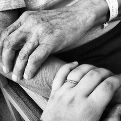 Generations (michelepeters1) Tags: family blackandwhite love children grandfather cellphone granddaughter grandparents generations iphone
