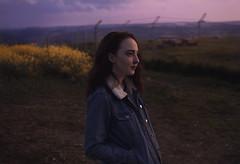 Teenage Blues (akoalacoven) Tags: uk sunset colour girl yellow evening waiting alone sad purple dusk sharp devon simple cinematic longing teenage muted