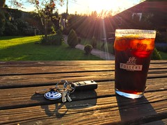 Evening Drink At The Pub (Marc Sayce) Tags: sunset vw garden keys three pub hampshire east pint alton horseshoes sunbeams fullers worldham