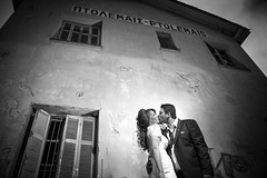 Giannis&dimitra (Dimi Zervas) Tags: wedding bw black train kiss photoshoot low greece lovestory creep wedd stasion