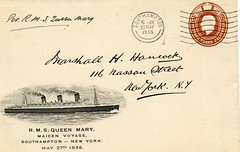 Maiden Voyage of the RMS Queen Mary - carried Postal Stationary cover (kitmasterbloke) Tags: newyork ship atlantic queenmary southampton cunard liner blueriband