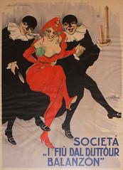 """Societ """"I fi dal Duttur Balanzn"""" (Renato Morselli) Tags: old italy paper poster bologna figli carta manifesto torri maschere duetorri societ chappuis balanzone teatrocomunaledibologna"""
