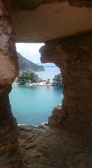 Through the Looking Glass (tuesday.robinson) Tags: blue trees sea green castle church stone greece frame parga