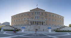 House of dreams (biktoras07) Tags: house parliament building sky blue military securitycabin guard monumenttotheunknownsoldier monument unknow soldier athens greece center city flag yellow white summer people outdoor outside capital dreams light
