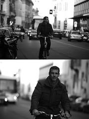 [La Mia Citt][Pedala] (Urca) Tags: portrait blackandwhite bw bike bicycle italia milano bn ciclista biancoenero bicicletta 2016 pedalare dittico 85574 ritrattostradale nikondigitalemir